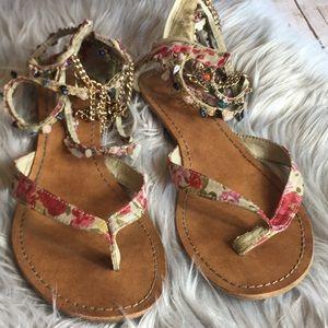 Nine West Floral Gladiator Sandal Women's Size 8